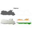 Meghalaya blank detailed outline map set vector image vector image