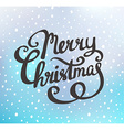 merry christmas greeting card on blue background vector image vector image