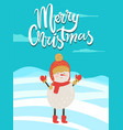 merry christmas poster congratulation from snowman vector image vector image