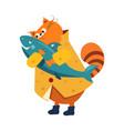 orange cat in a raincoat hugs fish vector image