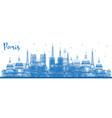 outline paris france city skyline with blue vector image