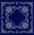 paisley bandana- blue and white pattern vector image vector image