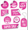 pink sale stickers collection vector image