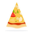 pizza with mushrooms and cheese flat isolated vector image vector image
