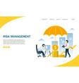 risk management website landing page design vector image vector image