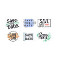 save date icons or banners set with typography vector image