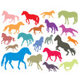 set of colorful horses silhouettes-3 vector image vector image