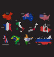 set of countries map flag vector image vector image