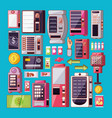 set of dispenser machines electronics vector image
