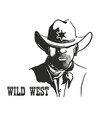 sheriff man portrait in cowboy hat and sheriff vector image vector image
