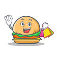 shopping burger character fast food vector image vector image