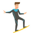 Smiling Surfer Man on Surfboard vector image