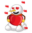 snowman in love on white background vector image vector image