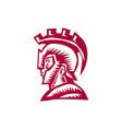 Spartan Warrior Helmet Woodcut vector image vector image