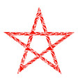 star pentagram mosaic of triangles vector image