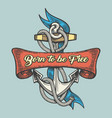 tattoo of anchor with wording born to be free vector image