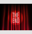 theatre curtain with round spotlight the end vector image