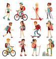 travel happy people hiking outdoor actives vector image vector image