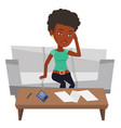 unhappy african woman accounting home bills vector image vector image
