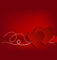 valentine day heart on red background vector image