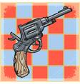 vintage grunge background with revolver vector image