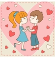 Vintage Valentines day card of boy kisses girl vector image vector image