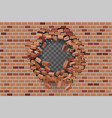 wall hole destruction red brick break template vector image vector image