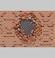 wall hole destruction red brick break template vector image