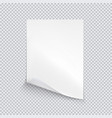 white sheet of paper on transparent background vector image vector image