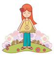 woman relaxing with flowers icon vector image vector image