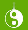 yin yang symbol icon green vector image vector image