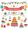 Happy Birthday Flat Design Icons Set vector image