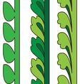 Vintage decorative set green floral pattern vector image