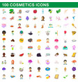 100 cosmetics icons set cartoon style vector image vector image