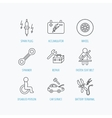 Accumulator spanner tool and car service icons