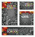 back to school chalkboard study posters vector image