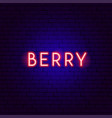 berry neon text vector image vector image