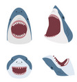 big shark with open mouth set vector image vector image