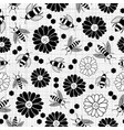 black and white bee and flower seamless pattern