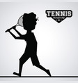 black silhouette faceless tennis player vector image vector image