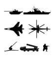 Black silhouettes of military equipment vector image vector image