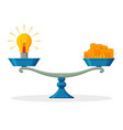 bulb symbol of idea and money on balanced scale vector image