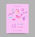 childish birthday invitation template with mermaid vector image