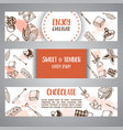 chocolate cacao sketch banners design menu for vector image vector image