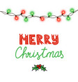 christmas tree string garland in circle shape vector image