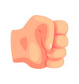 clenched male fist hand gesture cartoon vector image vector image