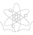 Continuous line icon model of atom concept