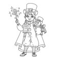 cute boy in carnival costume snowman in top hat vector image vector image