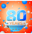 Eighty years anniversary celebration on orange vector image vector image
