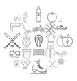exercise icons set outline style vector image vector image